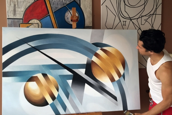Theory of Orbital Motion (Oil on Canvas 40x63in...100x160cm)
