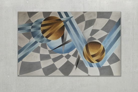 Artist's Chess Board (Oil on Canvas 40x63in...100x160cm)